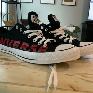 Shoes Converse Black with Red Lettering size 12